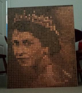 Queen Elizabeth II, copper on MDF.